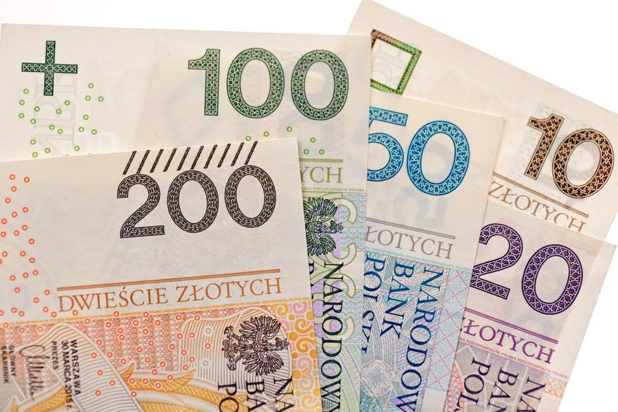 Polish zloty currency bills