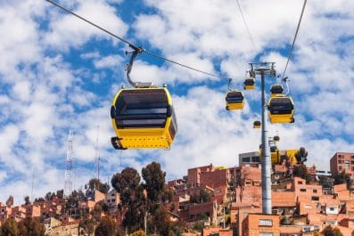Mi Teleferico is an aerial cable car urban transit system in the city of La Paz, Bolivia