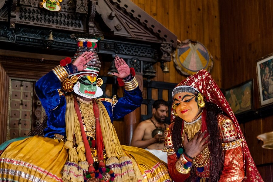 Kathakali dancers, Kochin, Kerala, India