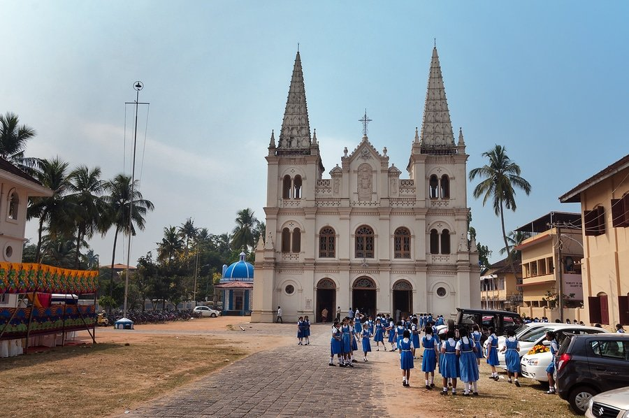 Indian Young Schoolgirls Near The Santa Cruz Basilica, Kochi, Kerala, India