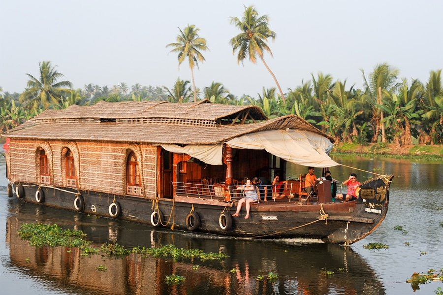 Traditional Indian Houseboat Cruising Near Alleppey, Kerala, India