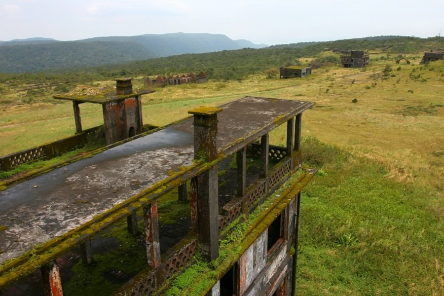 View from the roof of abandoned hotel 'Bokor Palace' to the 'Ghost town' Bokor Hill station near the town of Kampot. Cambodia