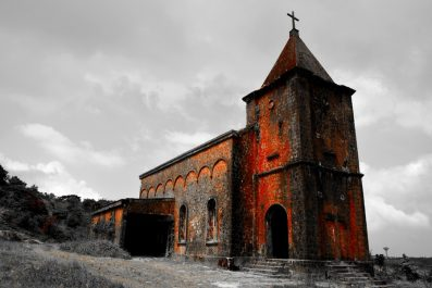 abandoned church, bokor hill, kampot, cambodia