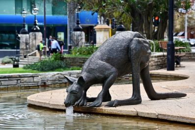 View of a kangaroo sculptures by Charlie Smith & Joan Walsh-Smith seen in Stirling Gardens in Perth, Australia