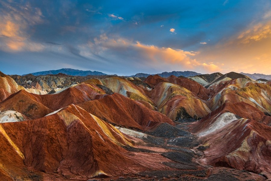 sunset Rainbow Mountains, Zhangye, China