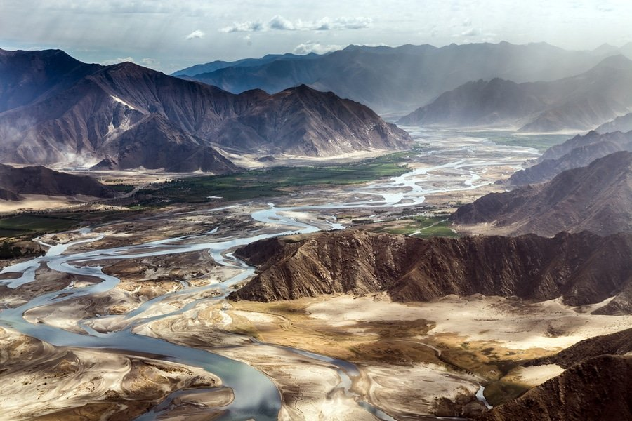 Aerial view of the mountains around Lhasa Gonggar Airport, Tibet