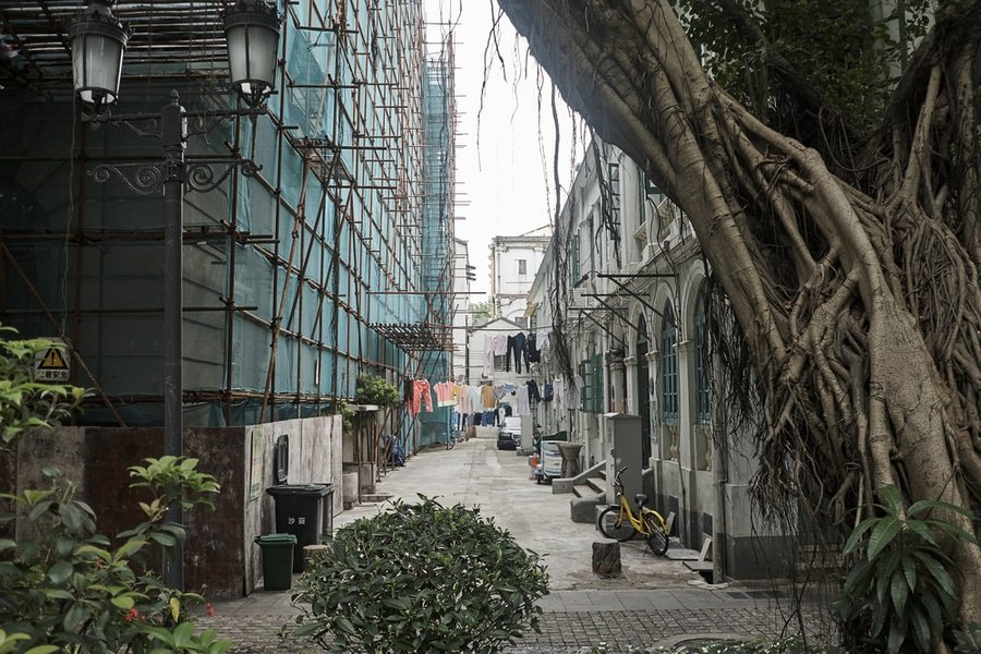 Back alley street scene along Shamian Street on Shamian Island, Guanzghou city, China.