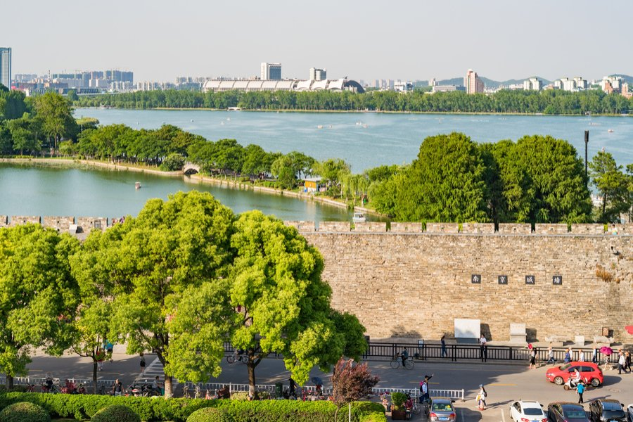 Xuanwu Lake and the city wall of Nanjing, China