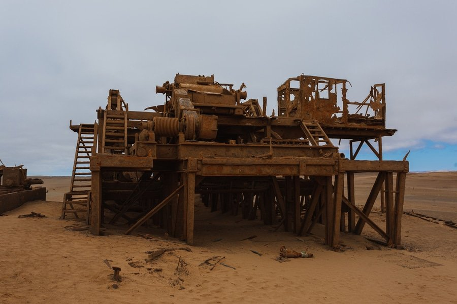 Old oil extraction station abandoned from Skeleton Coast, Namibia