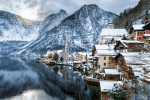 winter view of Hallstatt, Austria