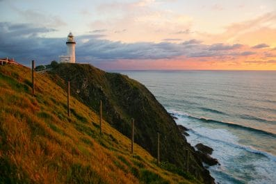Sunset at the Byron Bay lighthouse in Byron Bay, NSW, Australia