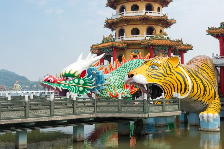 Dragon and Tiger Pagodas in Lotus Pond, Kaohsiung, Taiwan