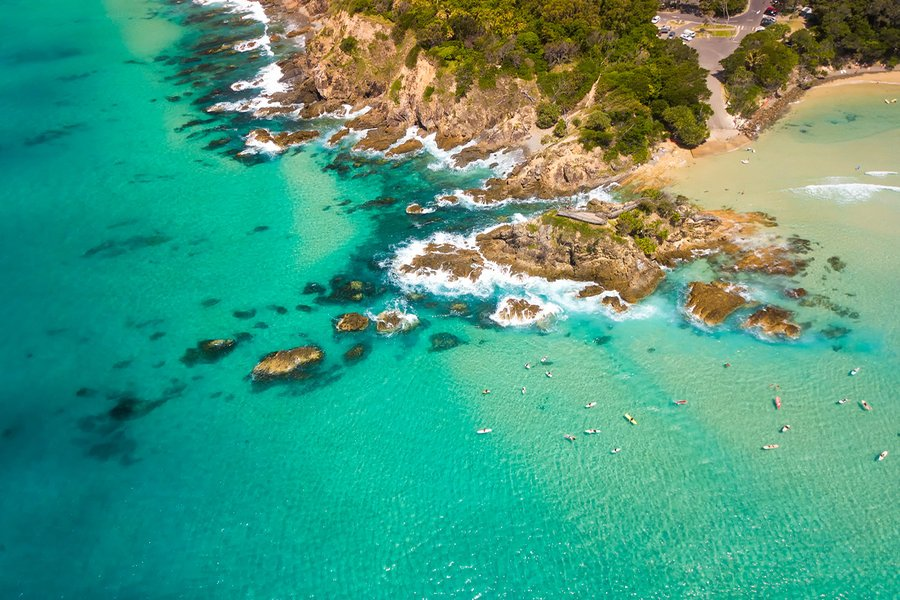 An aerial view of Byron Bay on a clear day