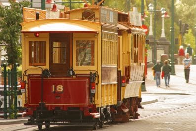Old English tram on a street in Christchurch, New Zealand