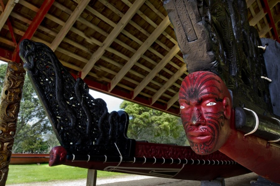 Whare Waka in Waitangi Treaty Grounds, Russell, Bay of Islands, New Zealand