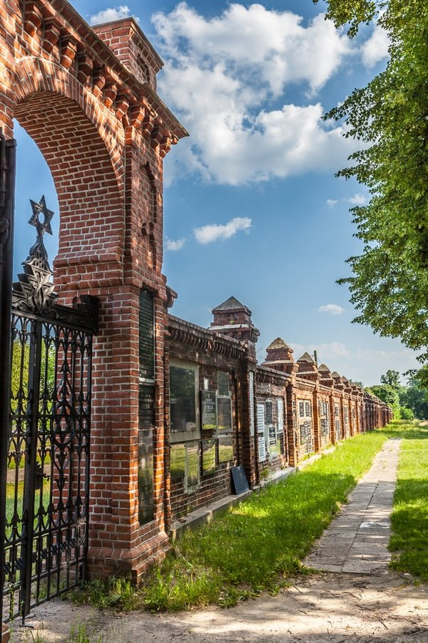 main gate of the Jewish cemetery, Lodz, Poland