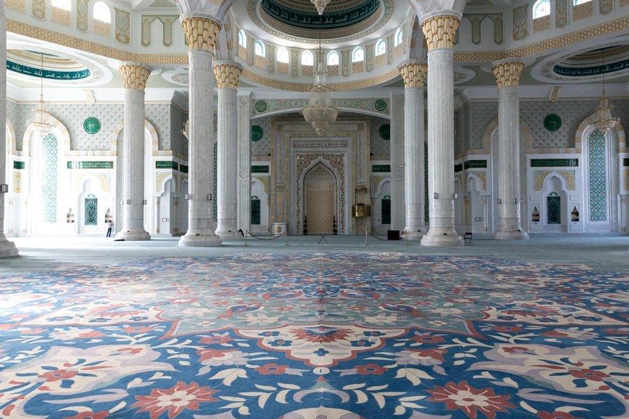 Interior of Hazrat Sultan Mosque, Astana, Kazakhstan
