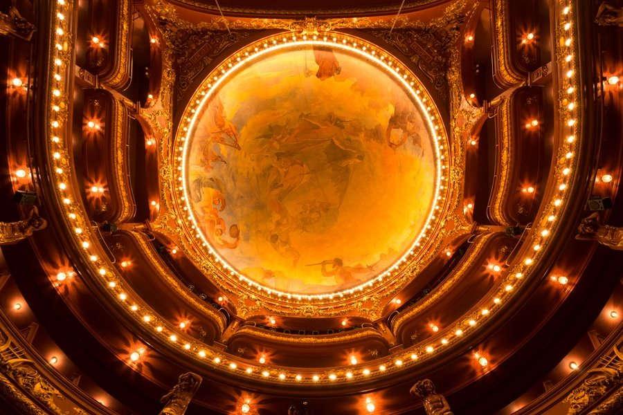 The ceiling inside Teatro Nacional Sao Joao, Porto, Portugal