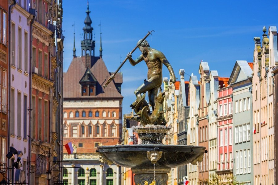 Fountain of Neptune in Old Town of Gdańsk , Poland