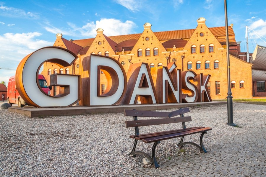 Gdansk sign in Old Town of Gdansk, Poland