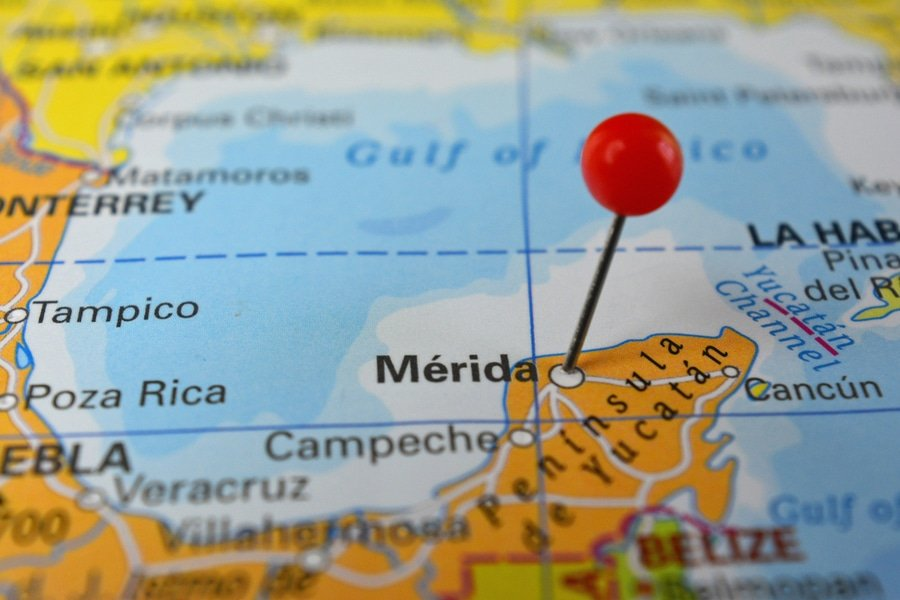 Merida, Mexico pin on a map