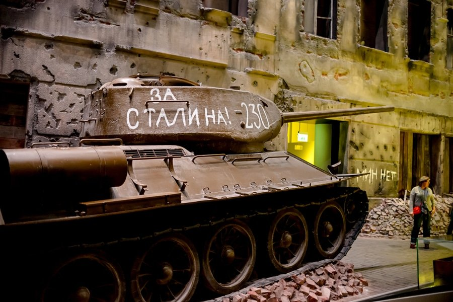 Soviet T-34 tank in the installation of the Museum of War