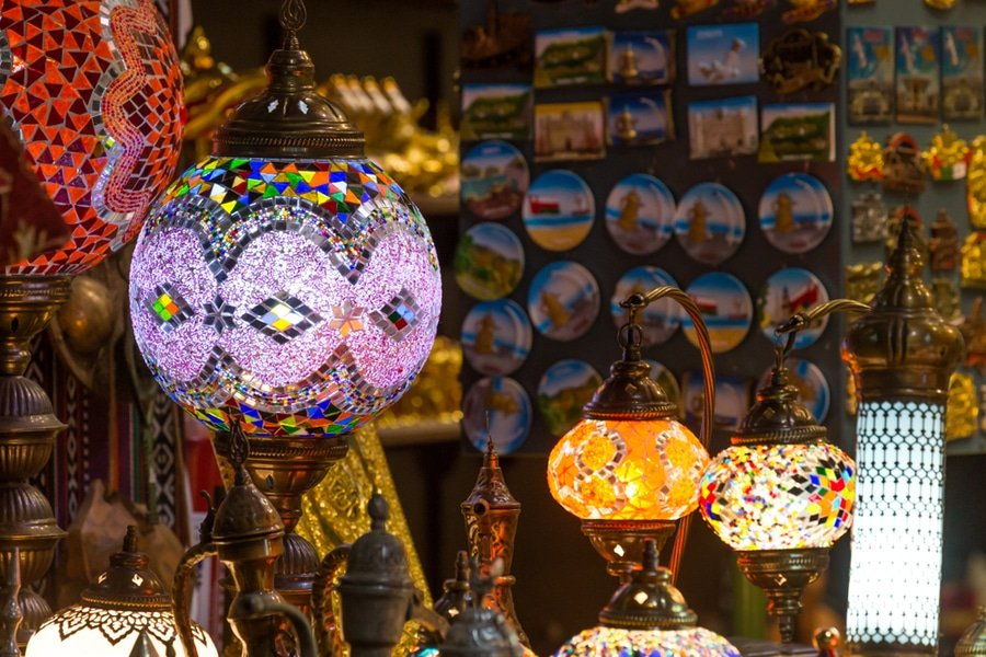 Beautiful Arabian lamps at ancient Mutrah Souq , Muscat, Oman