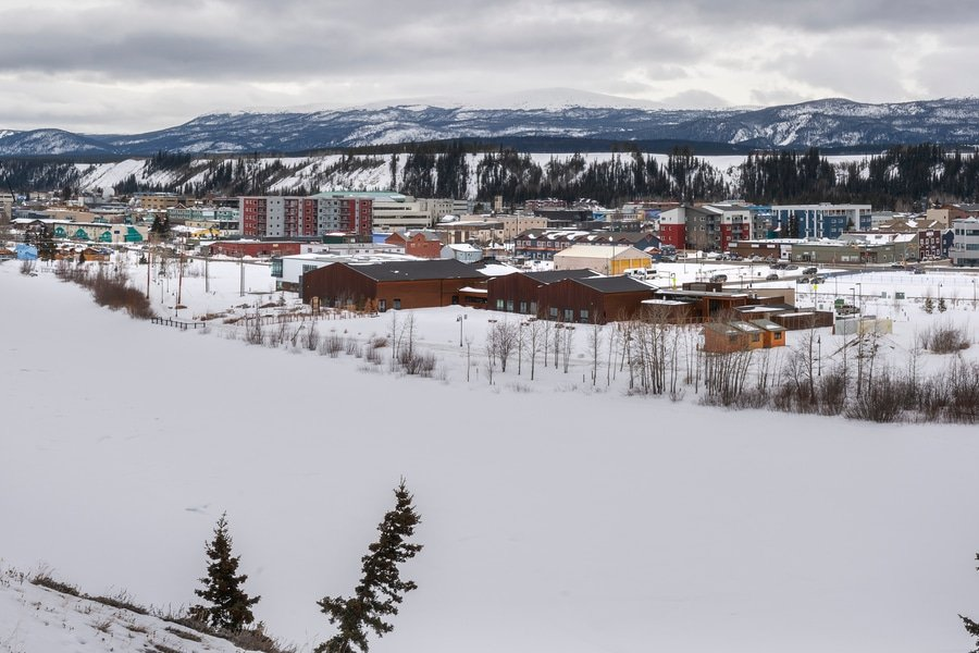 Aerial view of Whitehorse, Yukon, Canada