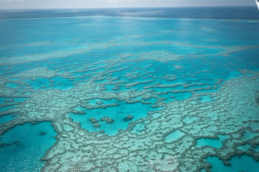 aerial Great Barrier Reef, Cairns, Australia