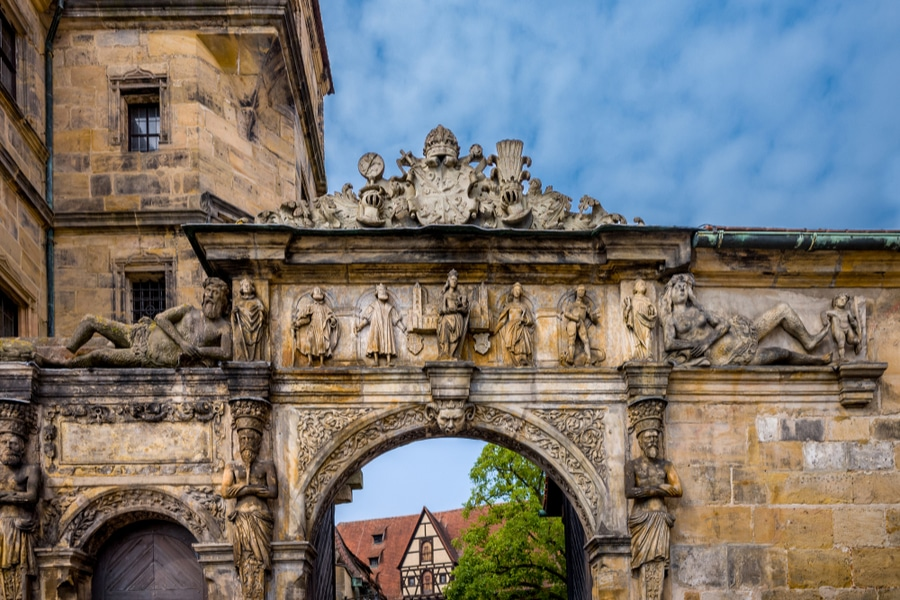 View of the gate of Bamberg Cathedra, Bamberg, Germany