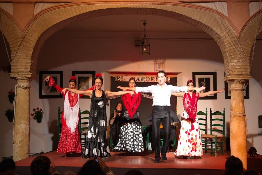 Flamenco dancers and singers performing at Tablao El Cardenal Flamenco Show, Cordoba, Spain