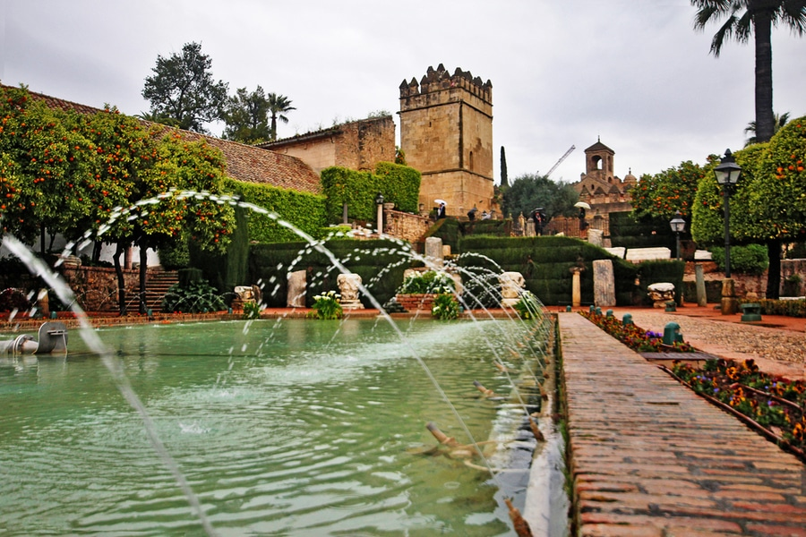 Torre de los Leones and Torre de Homenaje in gardens of Alcazar de los-Reyes Cristianos, Cordoba, Spain