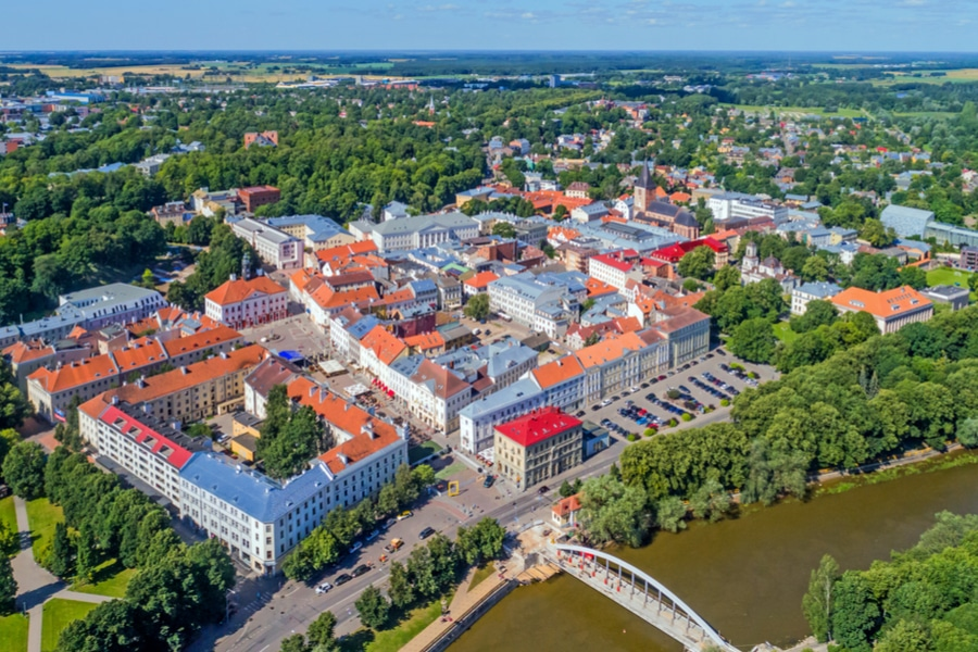Aerial view of Tartu, Estonia