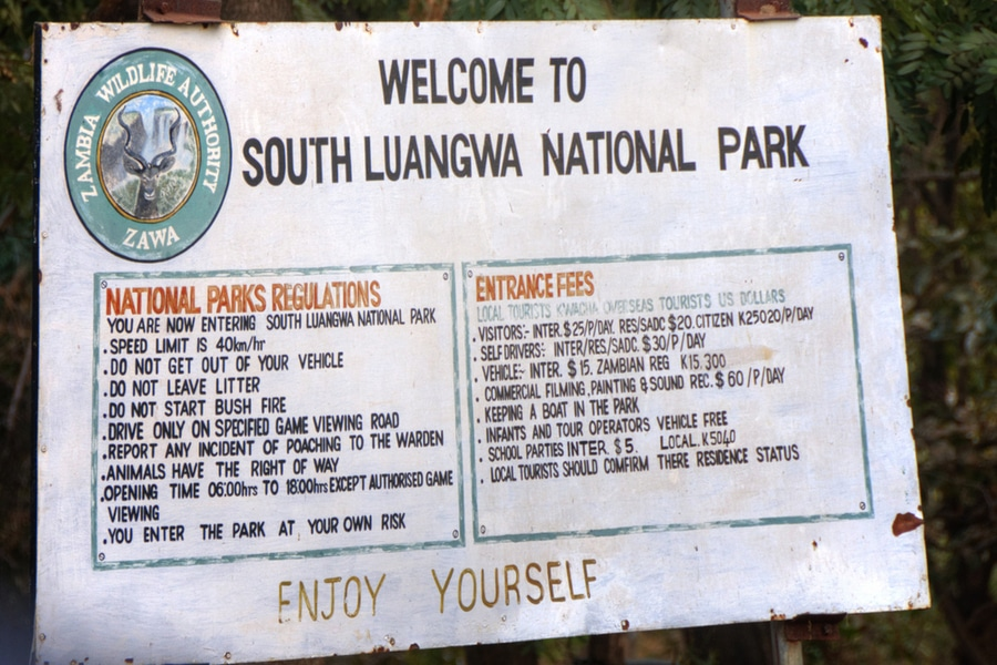 Welcoming sign in South Luangwa National Park, Zambia