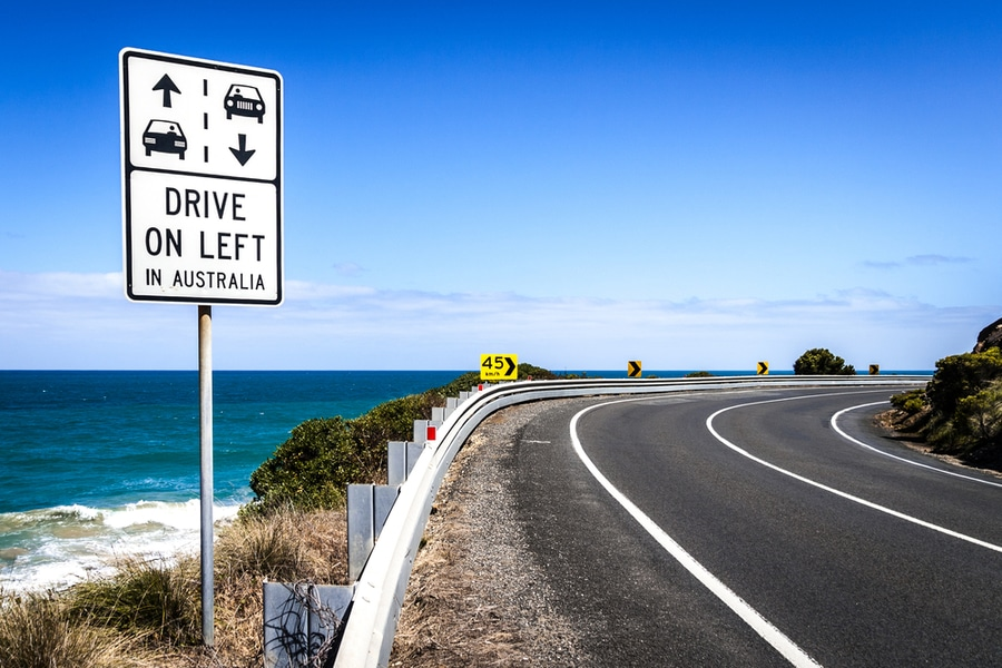 DRIVE ON LEFT Australian road sign on the Great Ocean Road, Austrtalia