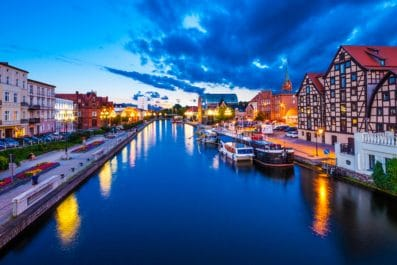 Old Town and granaries by the Brda River at night, Bydgoszcz, Poland