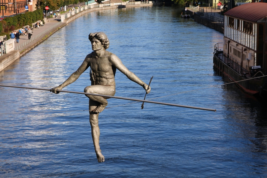 Tightrope Walker Sculpture, Bydgoszcz, Poland