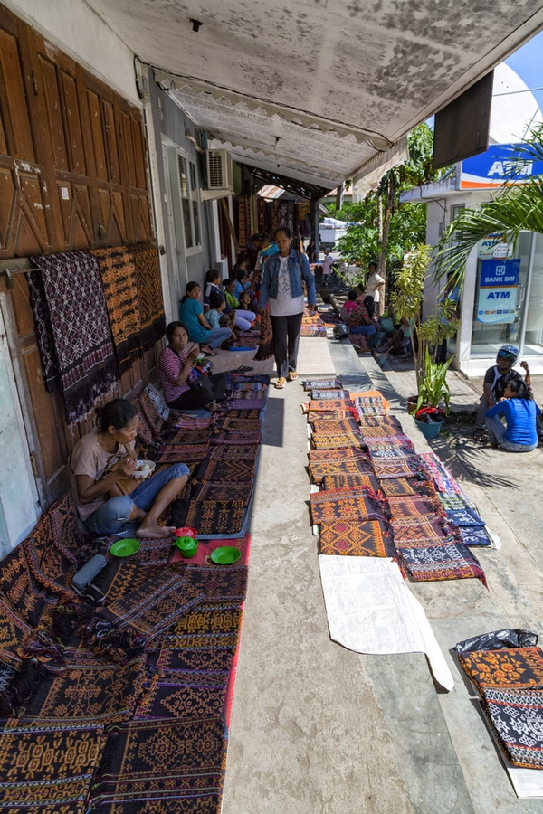 Traditional textiles at the main market in Maumere, Indonesia