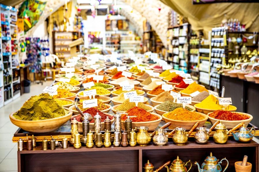 A spice store within Shuk HaCarmel in Tel Aviv, Israel